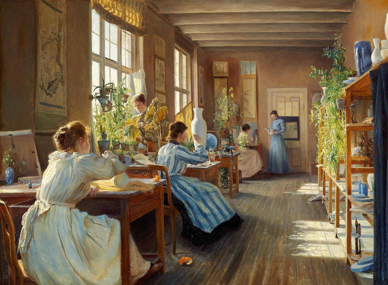 Emma Meyer (1859-1921) - Women Decorating Porcelain at Den Kgl. Porcelansfabrik