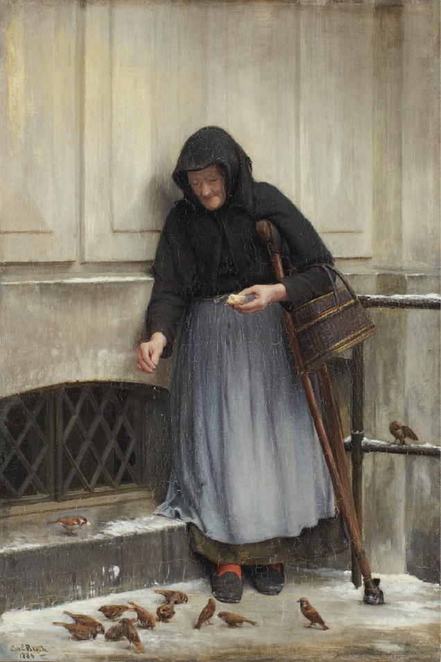 Carl Bloch The Woman with the Sparrows (1886)