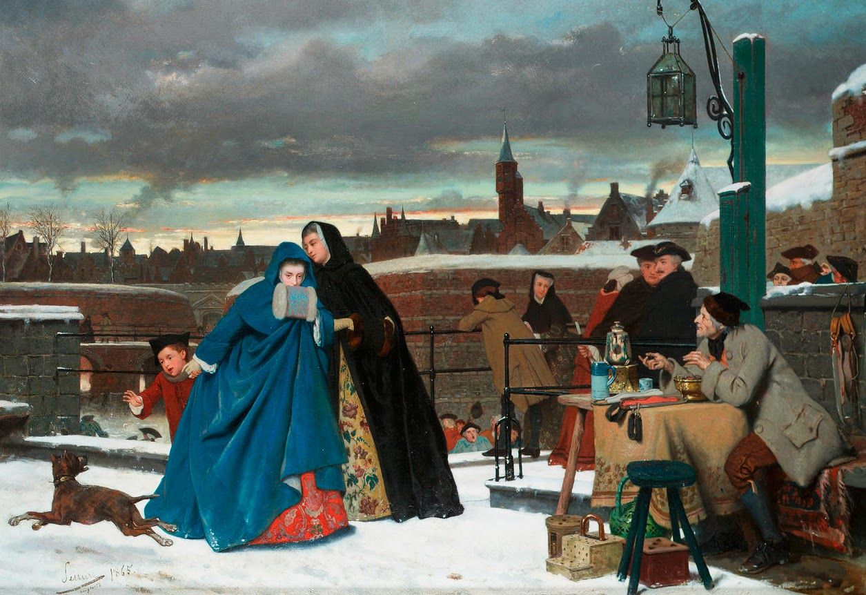 Auguste Serrure  (Belgian 1825-1903) - A Winter Outing