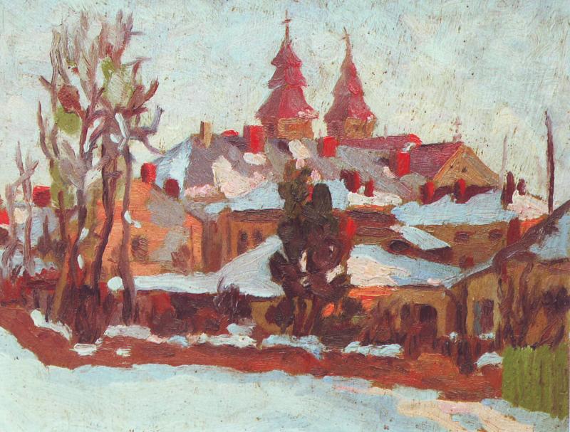 Ярослав Лукавецький - пейзаж із видом на катедру, 1945