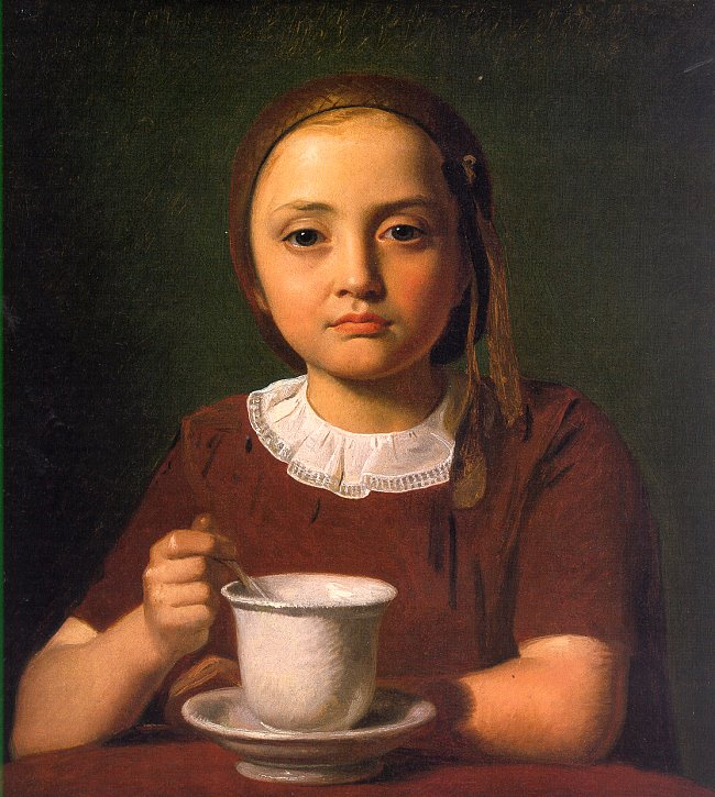 Constantin Hansen - Portrait of a Little Girl, Elise Købke, with a Cup in front of her, 1850
