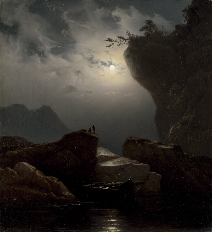 Knud Baade - Coastal Landscape in Moonlight, 1851