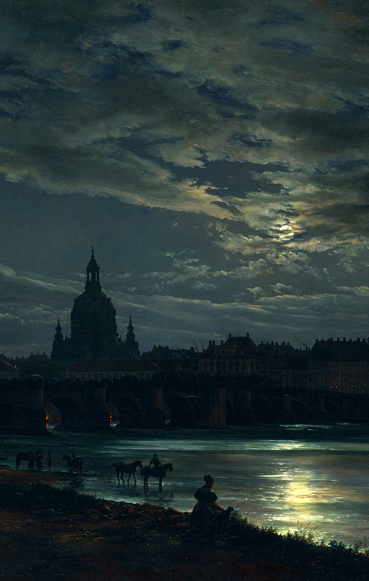 Johan Christian Claussen Dahl - View of Dresden in the moonlight, 1839