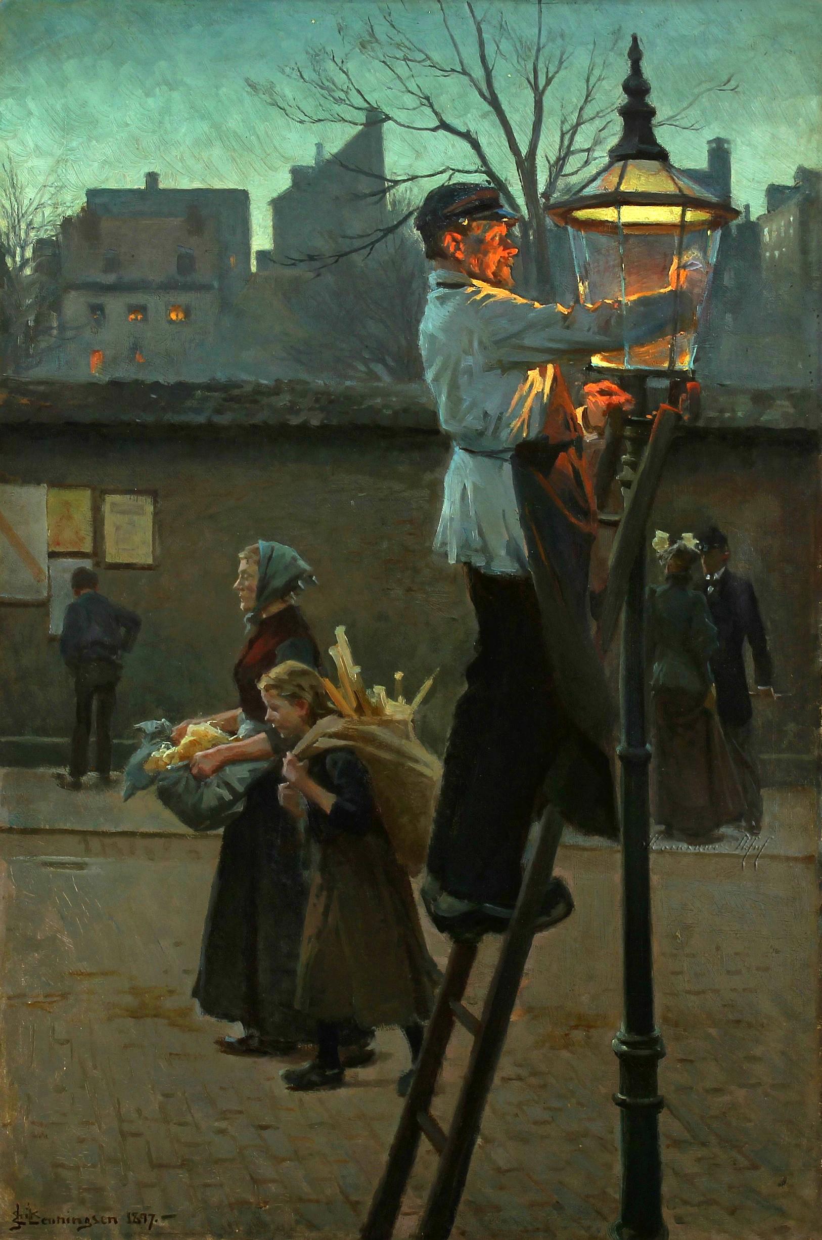 Erik Ludvig Henningsen (Danish 1855 - 1930) - The Lamplighter