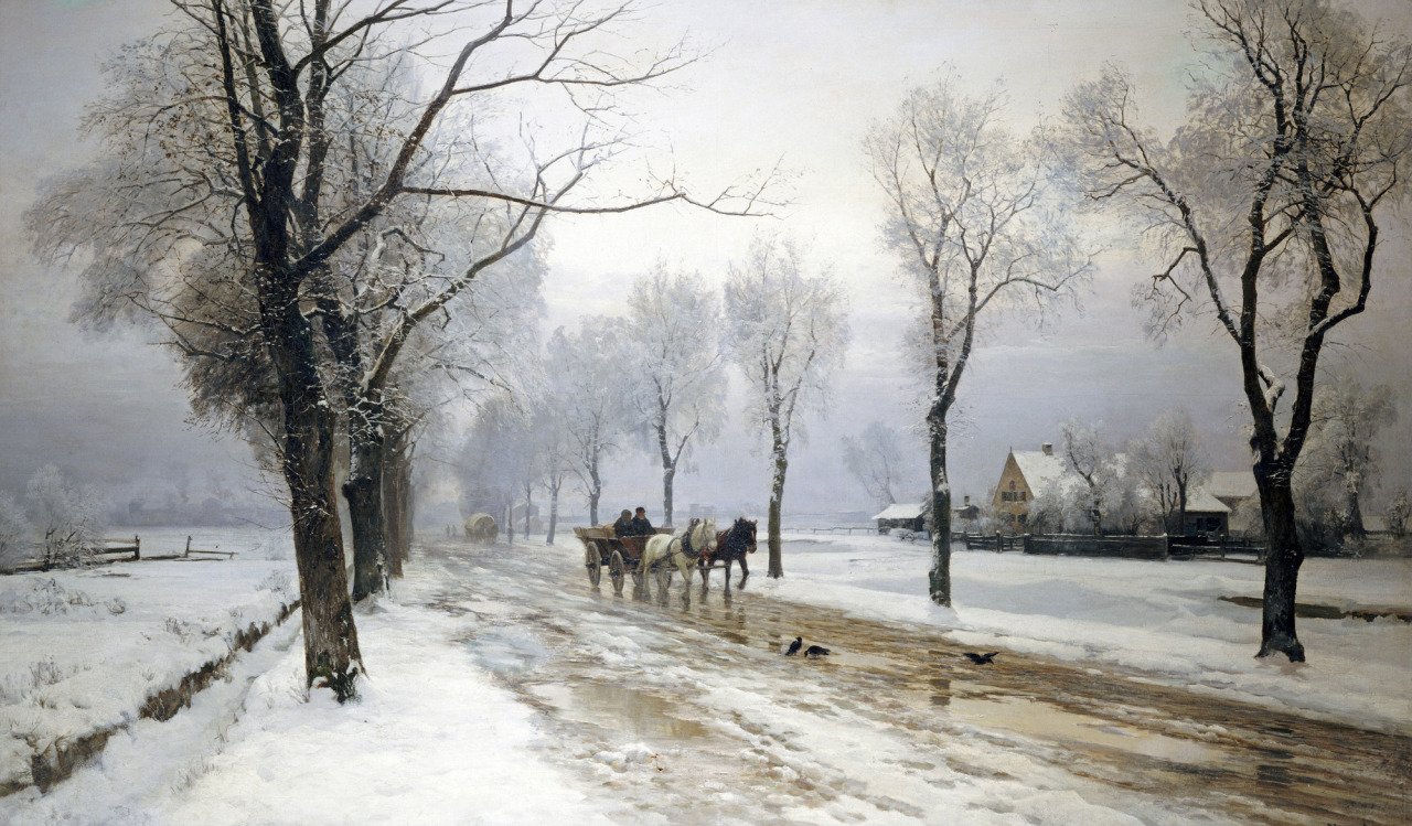 Anders Andersen-Lundby - Winter Landscape With a Horse and Cart, 1882