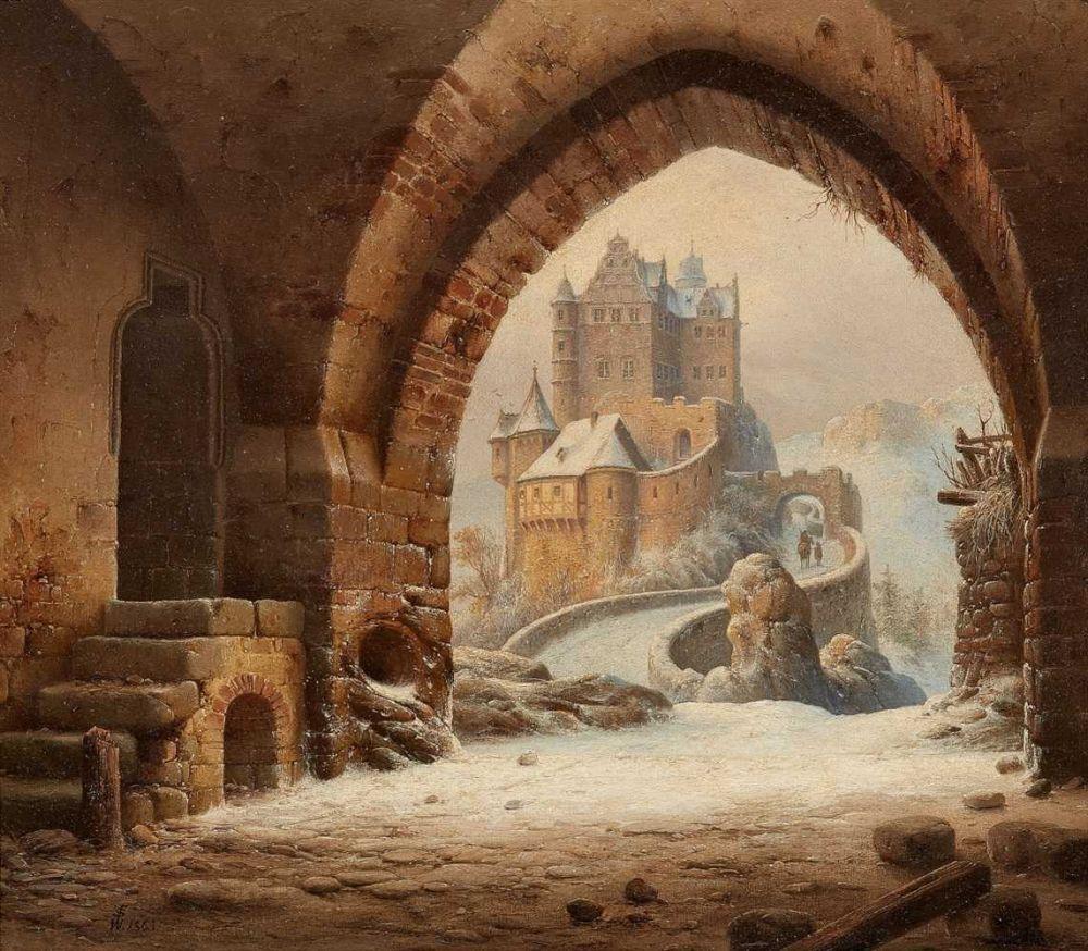 Wilhelm Steuerwaldt (1815 – 1871) - Gateway Arch overlooking a medieval castle