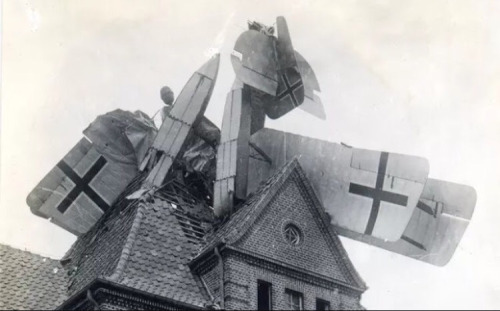 WWI German plane - crashed into a home