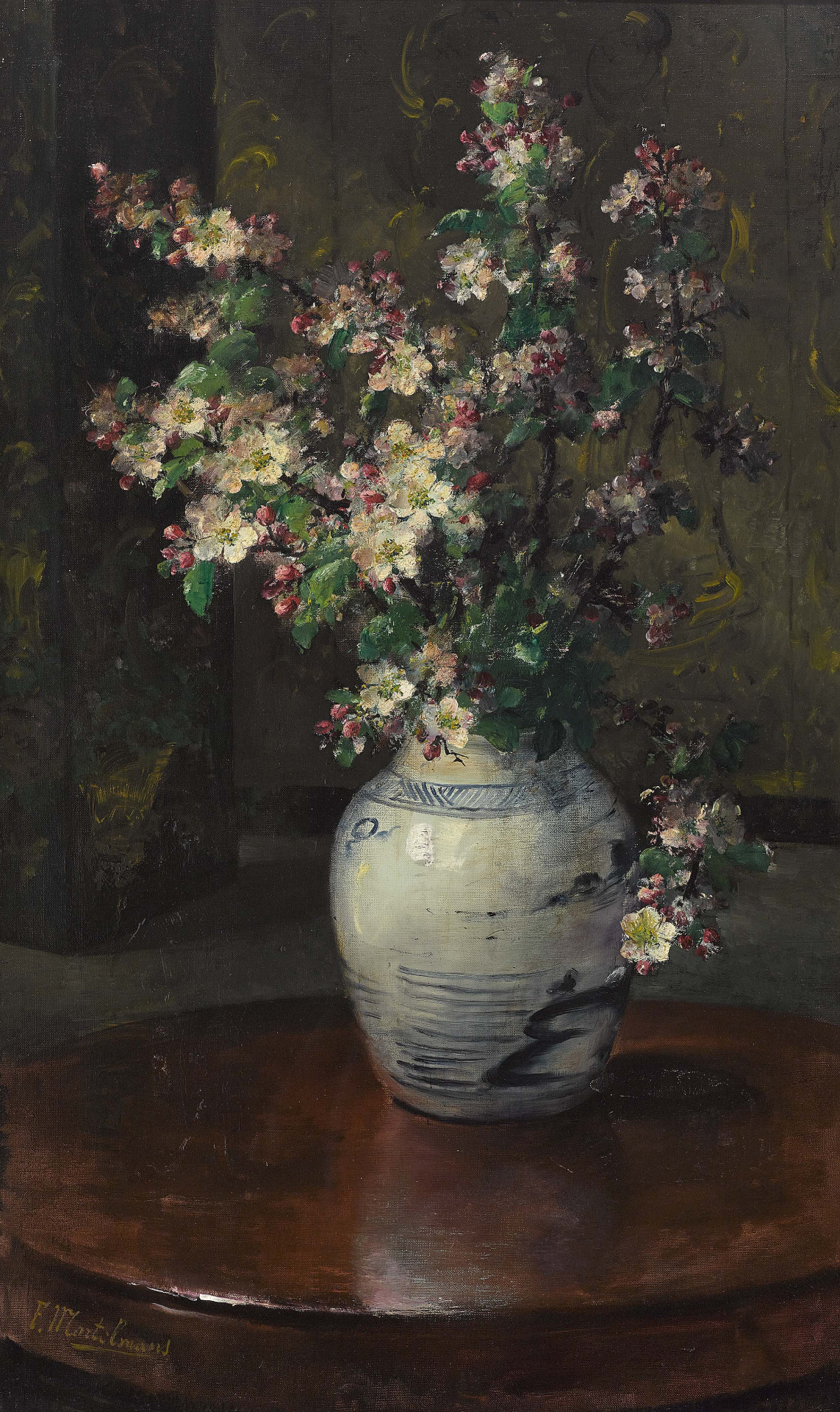 Frans Mortelmans (1865–1936) - Apfelzweige in Steingutvase
