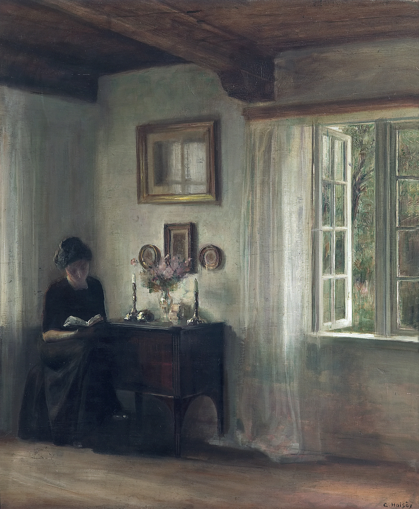 Carl Vilhelm Holsøe (1863-1935 )- Interior with woman reading