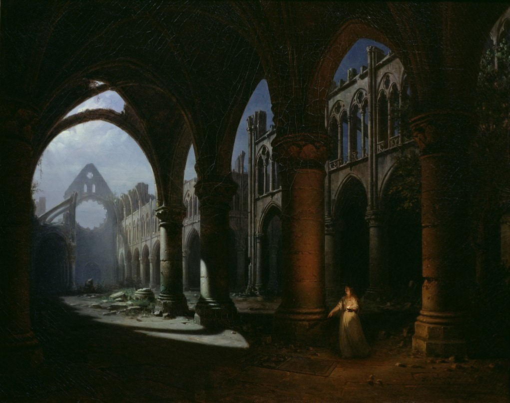 Hippolyte Sebron - Interior of an Abbey Ruin, 1848