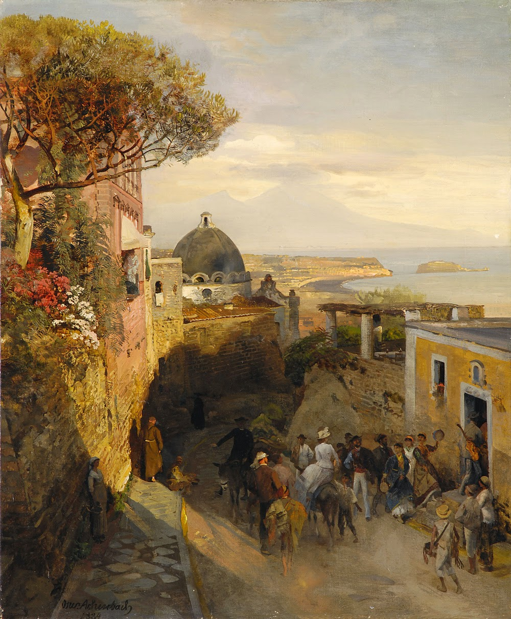 Oswald Achenbach - Street Scence in Naples, 1884