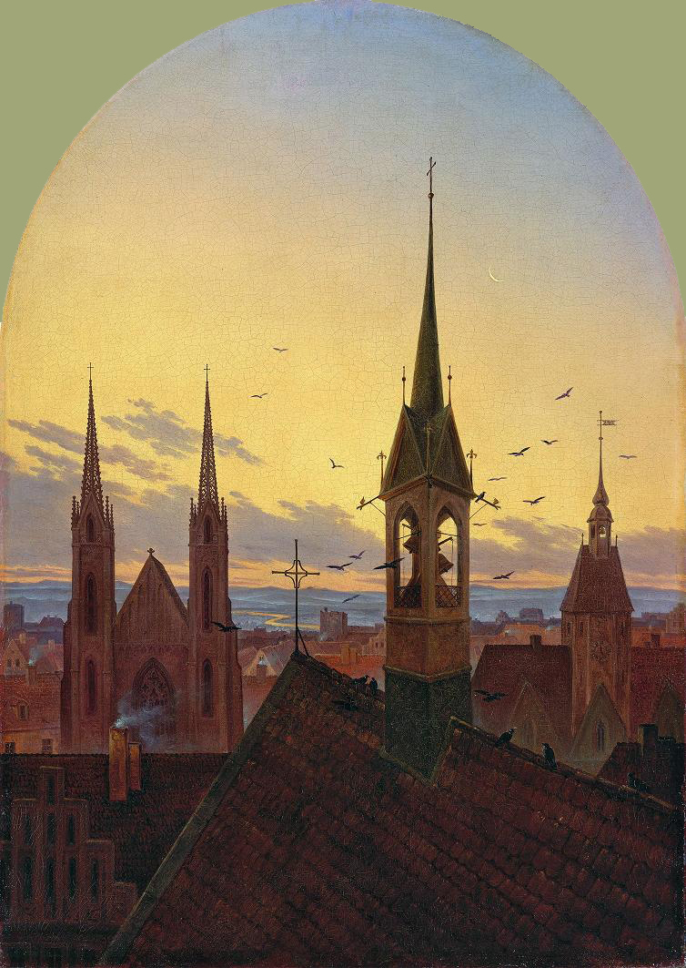 Carl Gustav Carus - Frühläuten (Old German city in the morning light), 1840