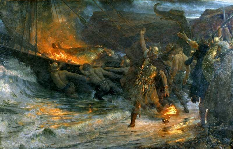 Frank Dicksee - the funeral of a viking, 1893