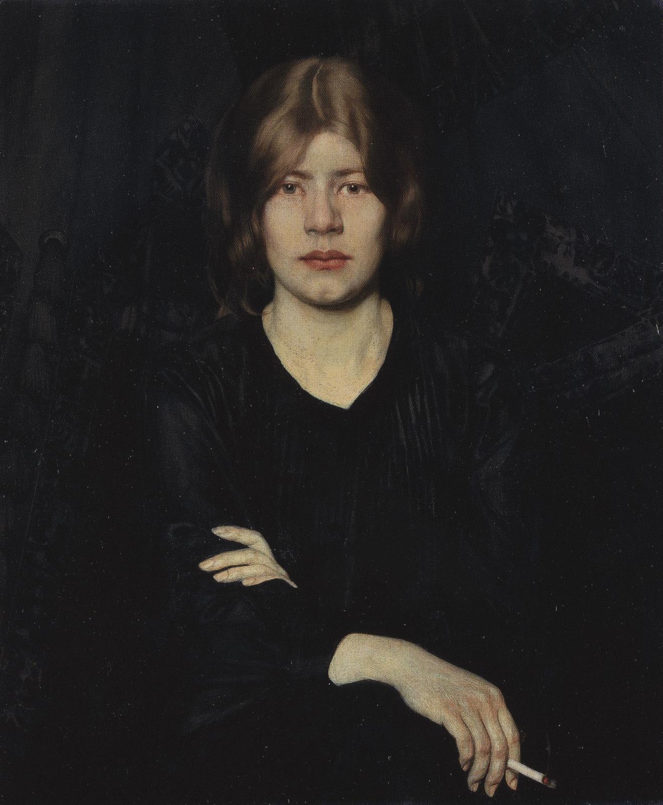 Oskar Zwintscher Lady with Cigarette Dame mit Zigarette, 1904
