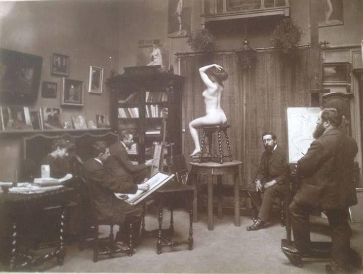 Toulouse Lautrec e Courbet con la modella