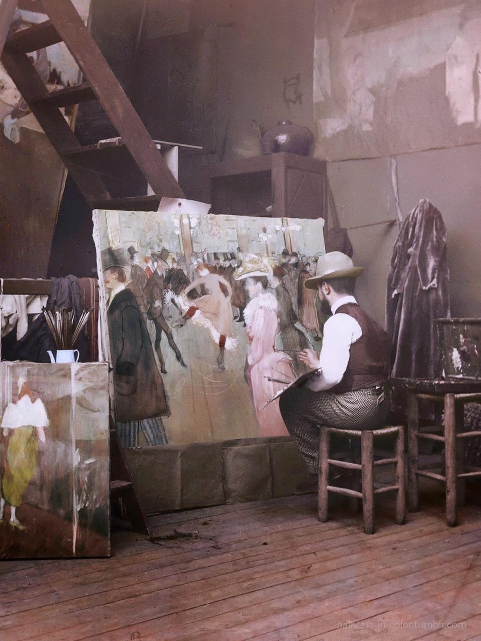 Henri de Toulouse-Lautrec painting At the Moulin Rouge The Dance