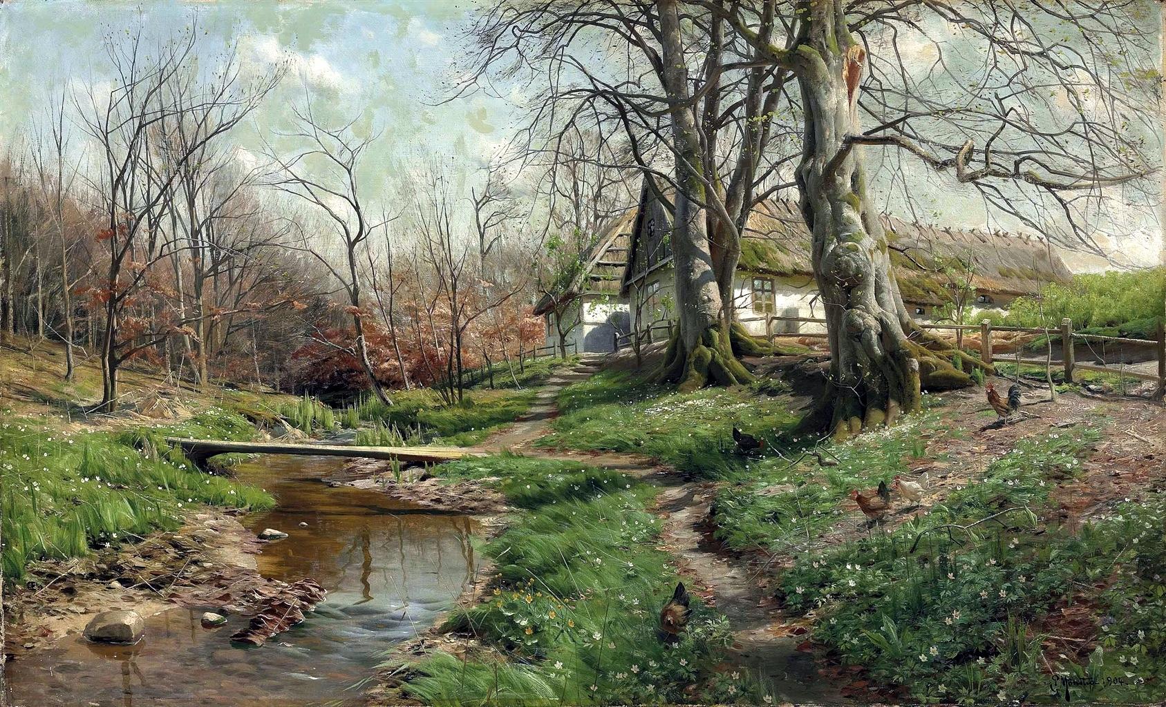 Peder Mørk Mønsted - Farmstead by a River, 1904