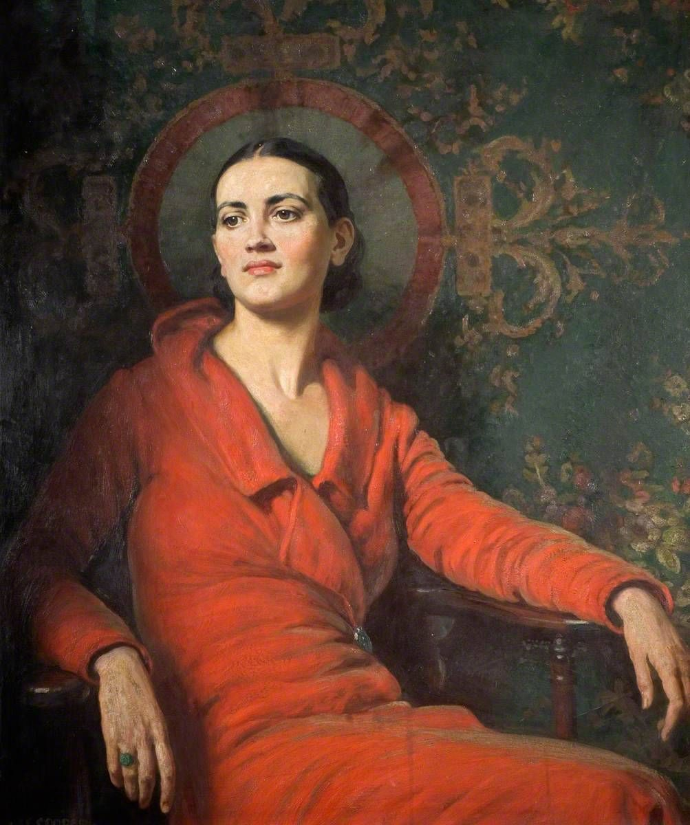 Alfred Egerton Cooper (1883–1974) - Lady in Red Velvet