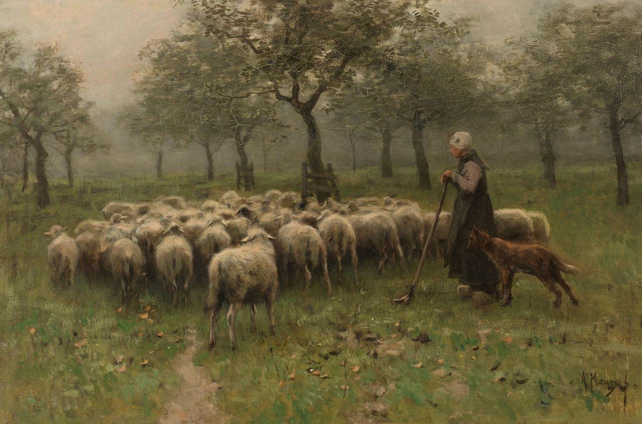 Anton Mauve - Shepherdess with a Flock of Sheep, 1870-88