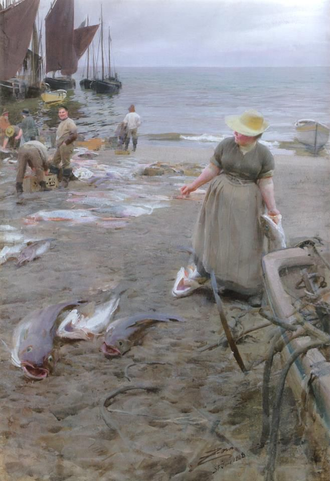 Anders Zorn Fish Market in Saint Ives, 1888