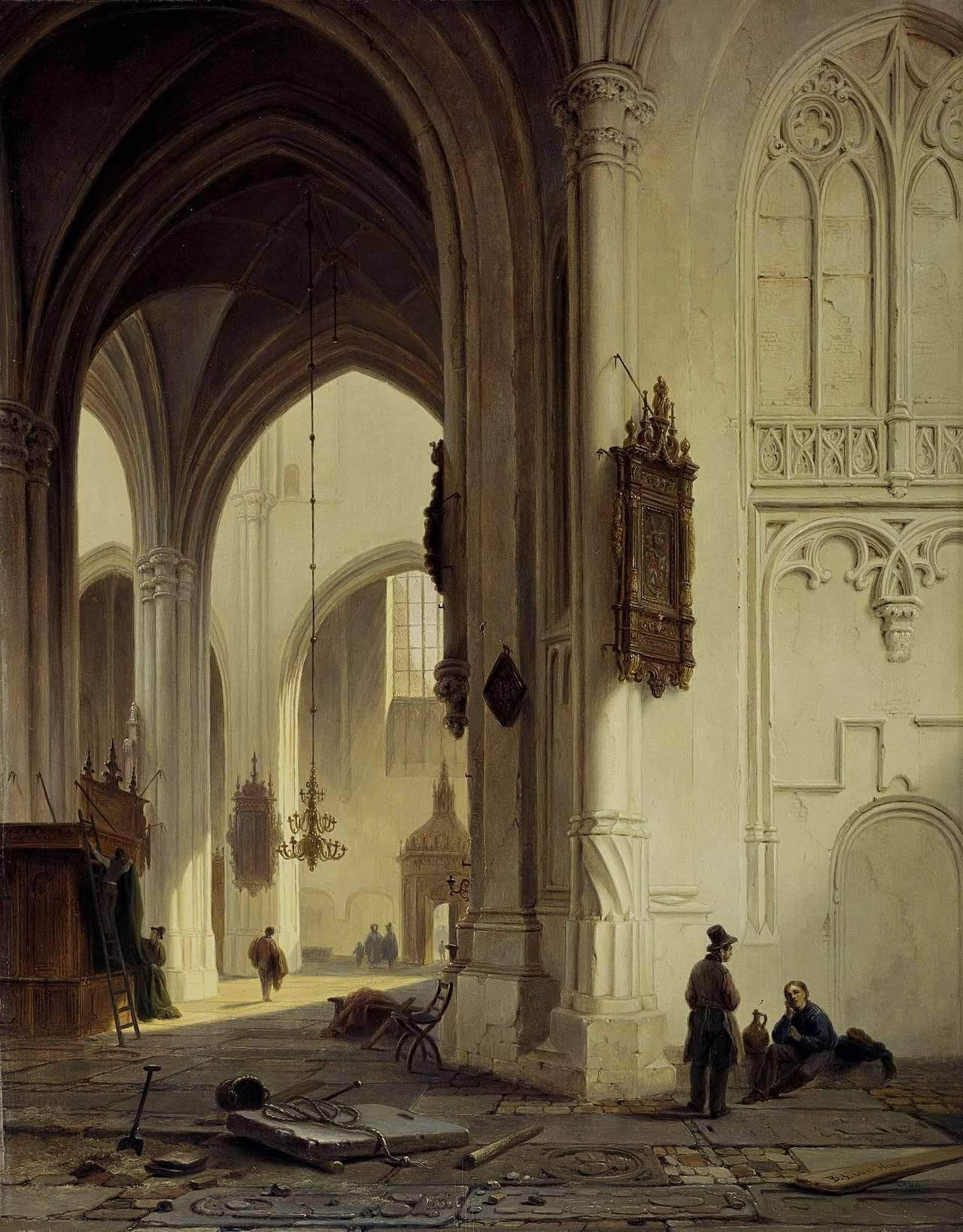 Johannes van Hove - Kerkinterieur af Bartholomeus, 1844