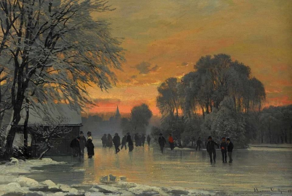 Anders Andersen-Lundby - A winter scene in the evening red, 1883