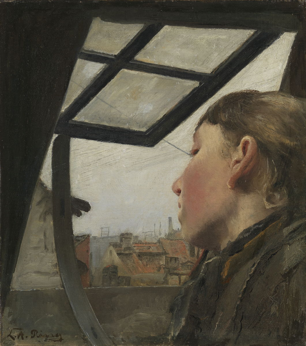 Laurits Andersen Ring - Young Girl Looking out of a Roof Window, 1885