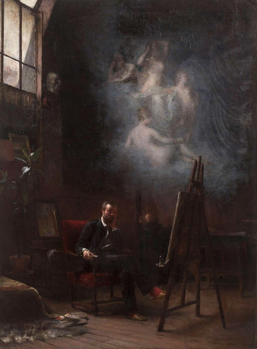 Reverie in the workshop, 1886, Emile-Louis Foubert
