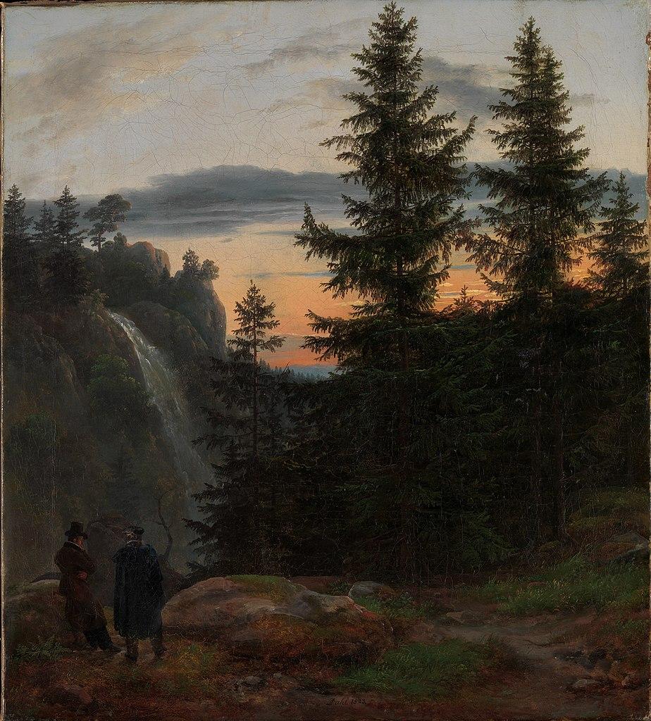 Johan Christian Dahl - Two Men before a Waterfall at Sunset, 1823