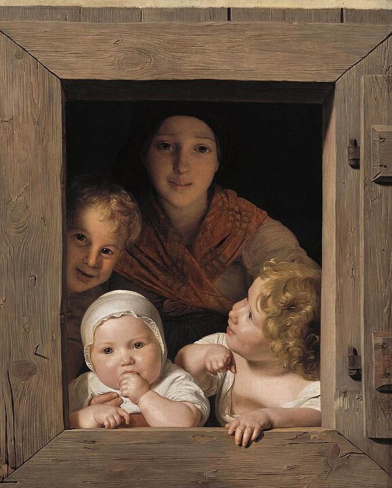 Ferdinand Georg Waldmüller - Young Peasant Woman with Three Children at the Window, 1840