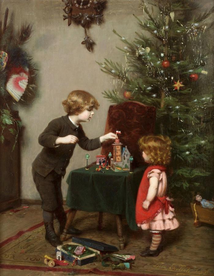 Felix Ehrlich (1866-1931) -  children on Christmas morning
