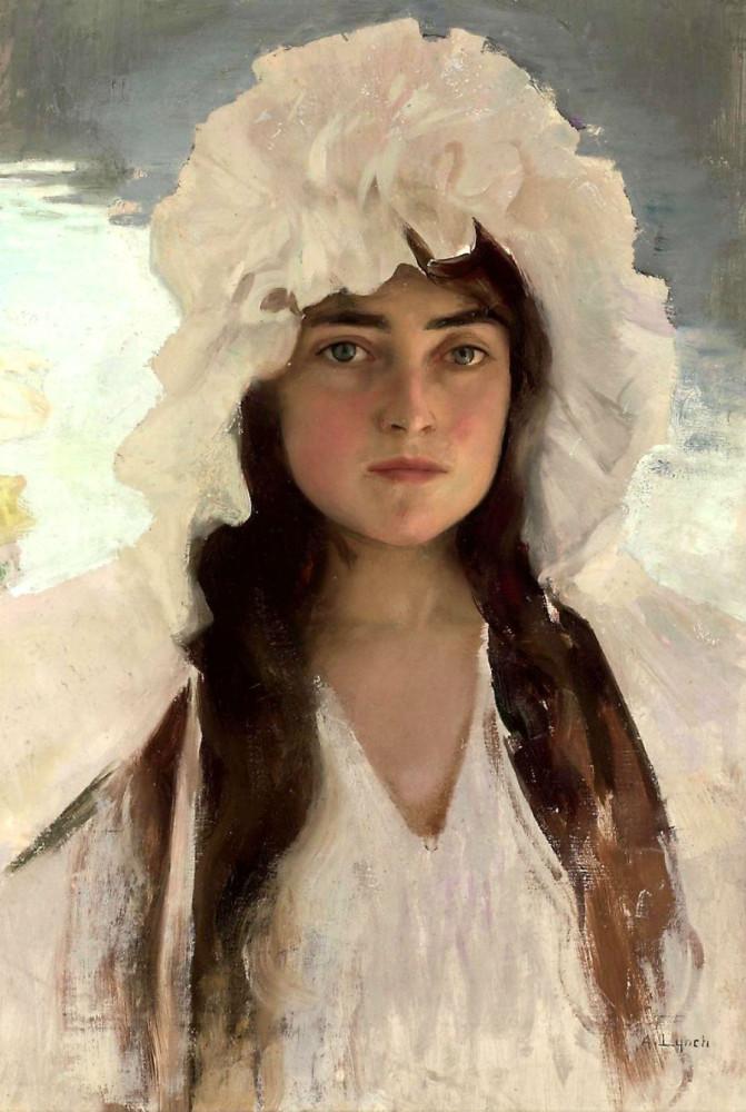 Albert Lynch (1851-1912) - Portrait of a girl in white bonnet