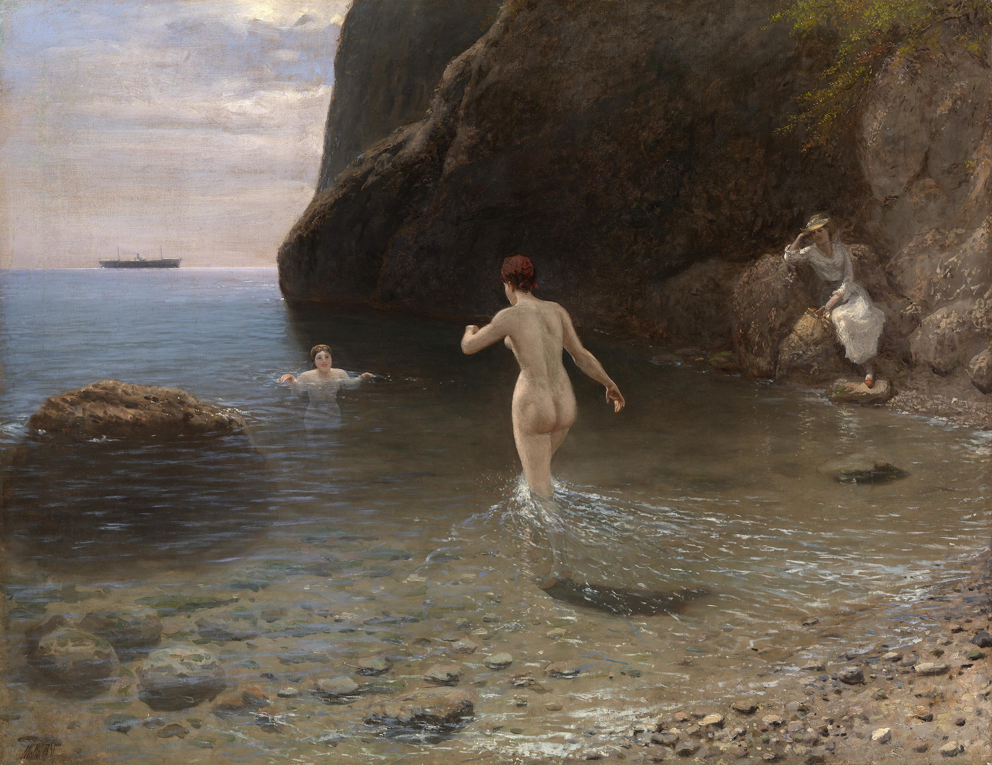 Lev Lagorio bathing in Crimea. 1891