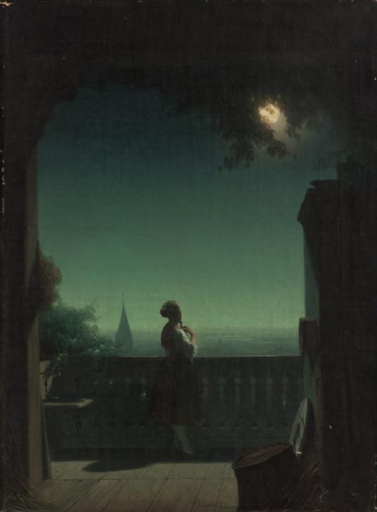 Berndhard Stange - Girl on a balcony, 1850