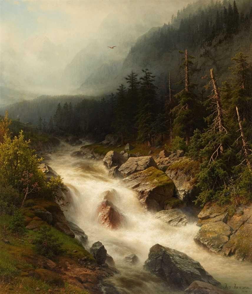 Joseph Jansen (1829-1905) - River through the mouintains