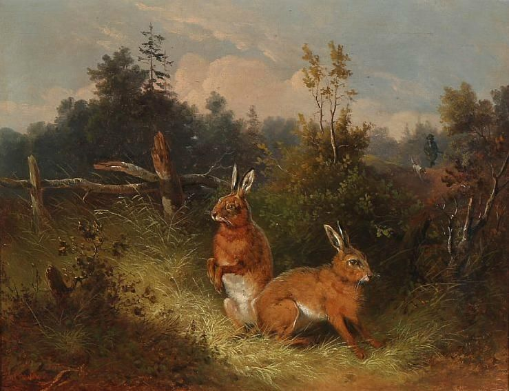 Wilhelm Melchior (1817-1860) - Two hares fleeing a hunter