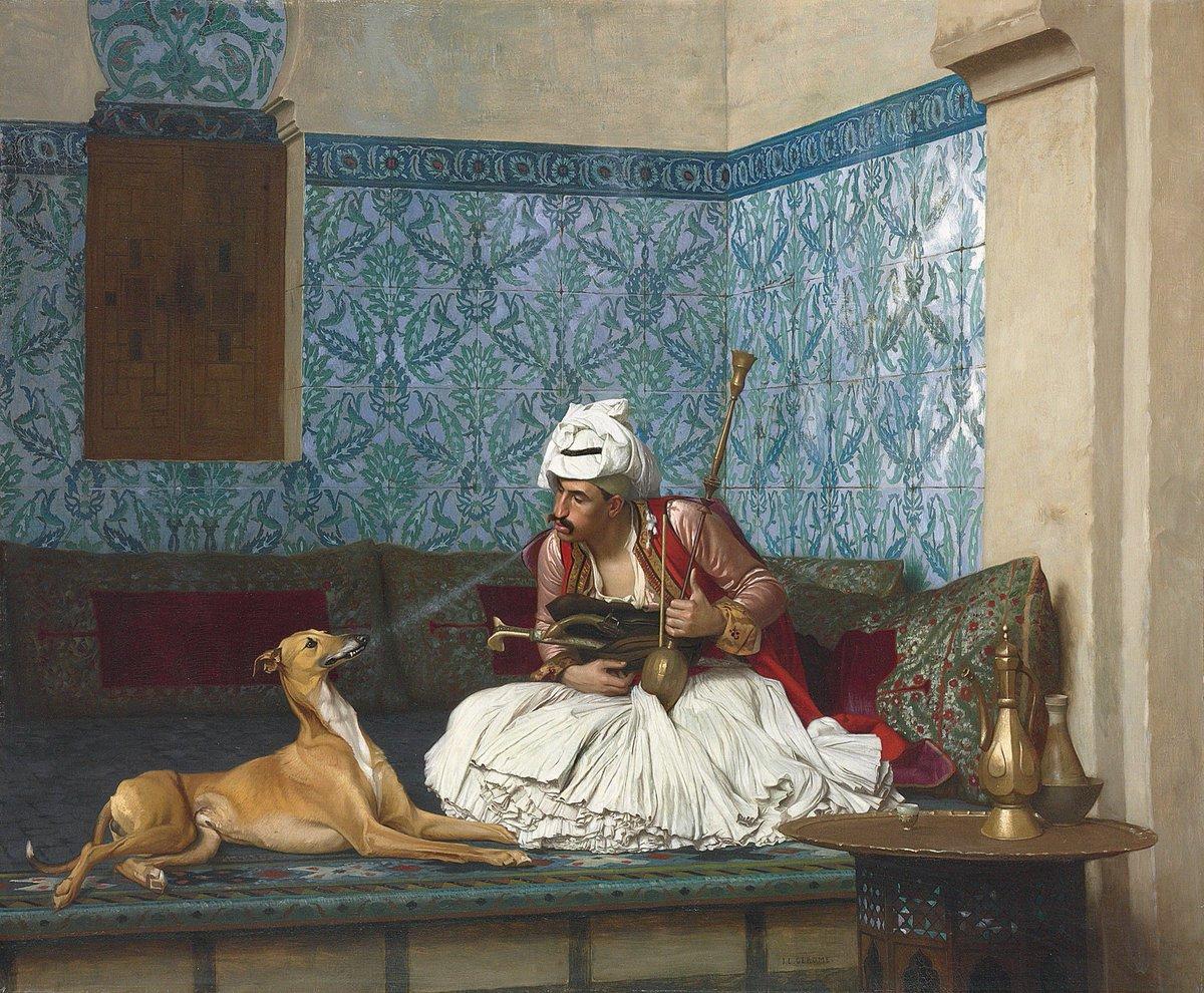 Jean-Leon Gerome - Arnaut Blowing Smoke in His Dog's Noseby, 1882
