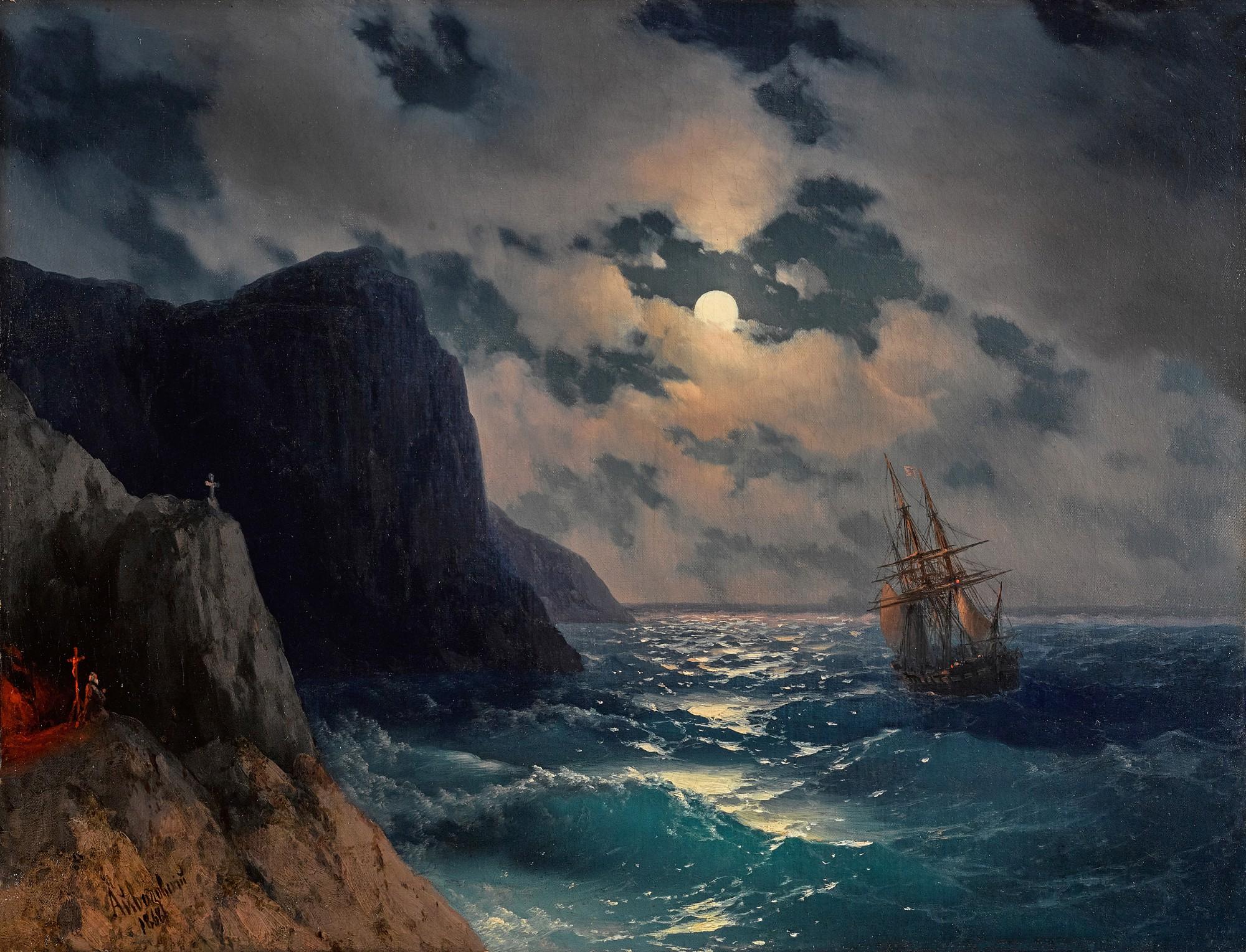Ivan Konstantinovich Aivazovsky - Passing Ship on a moonlit night, 1868