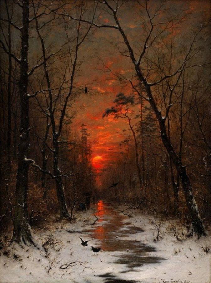 Heinrich Gogarten - Sunset over the Winter Forest, 1881