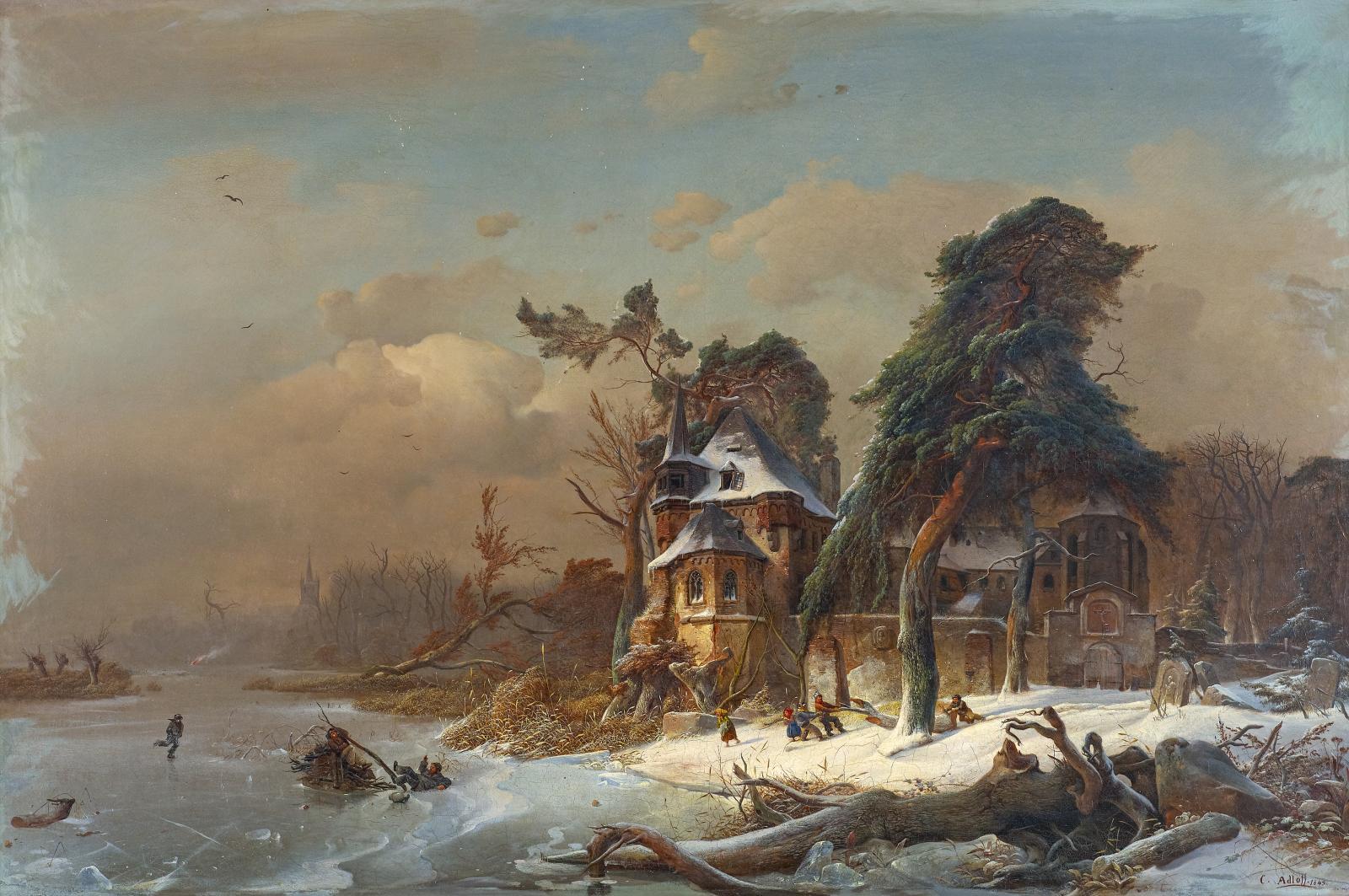 Carl Adloff - Wintery Ruin of a Monastery, 1893