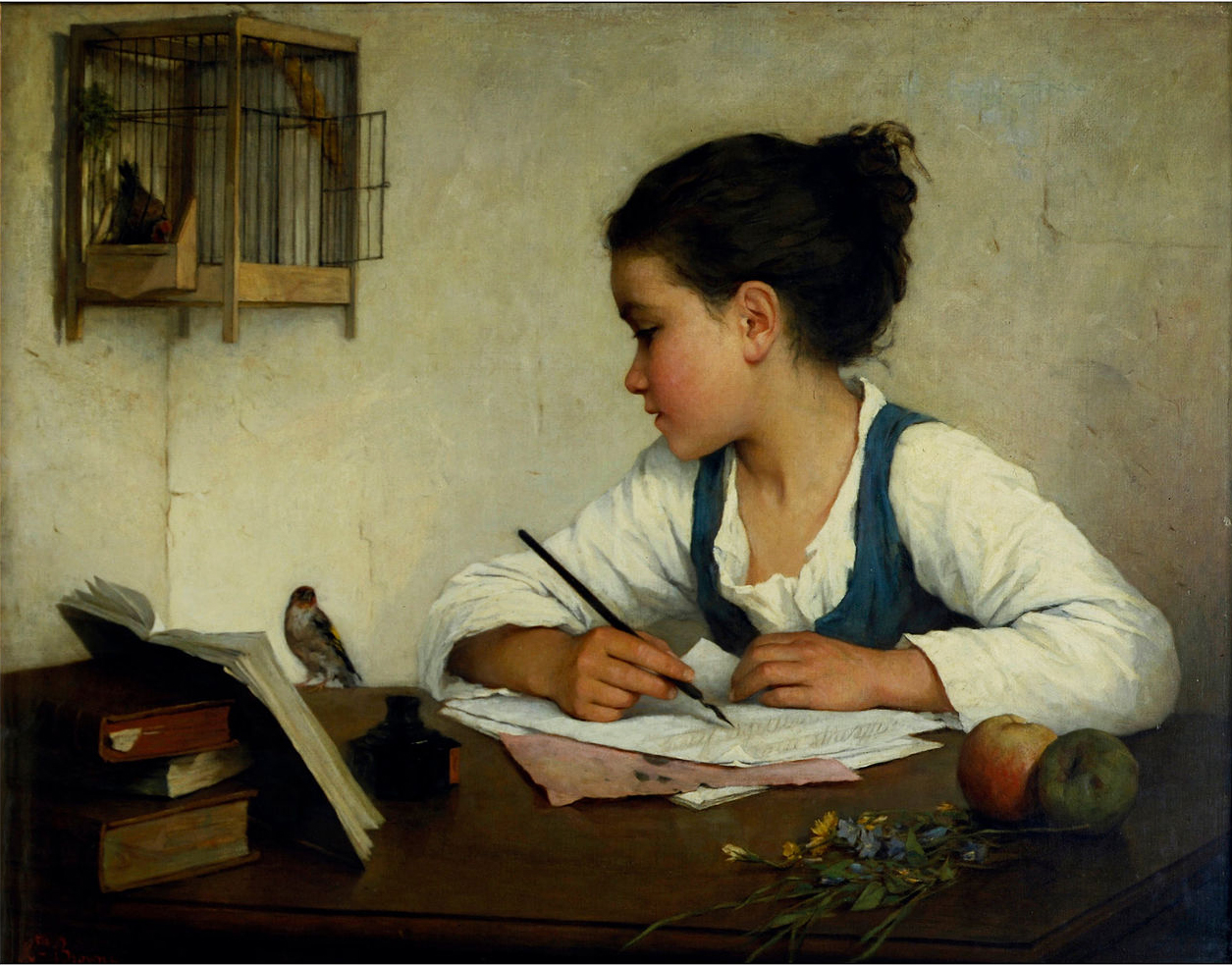 Browne, Henriette - A Girl Writing; The Pet Goldfinch, 1874