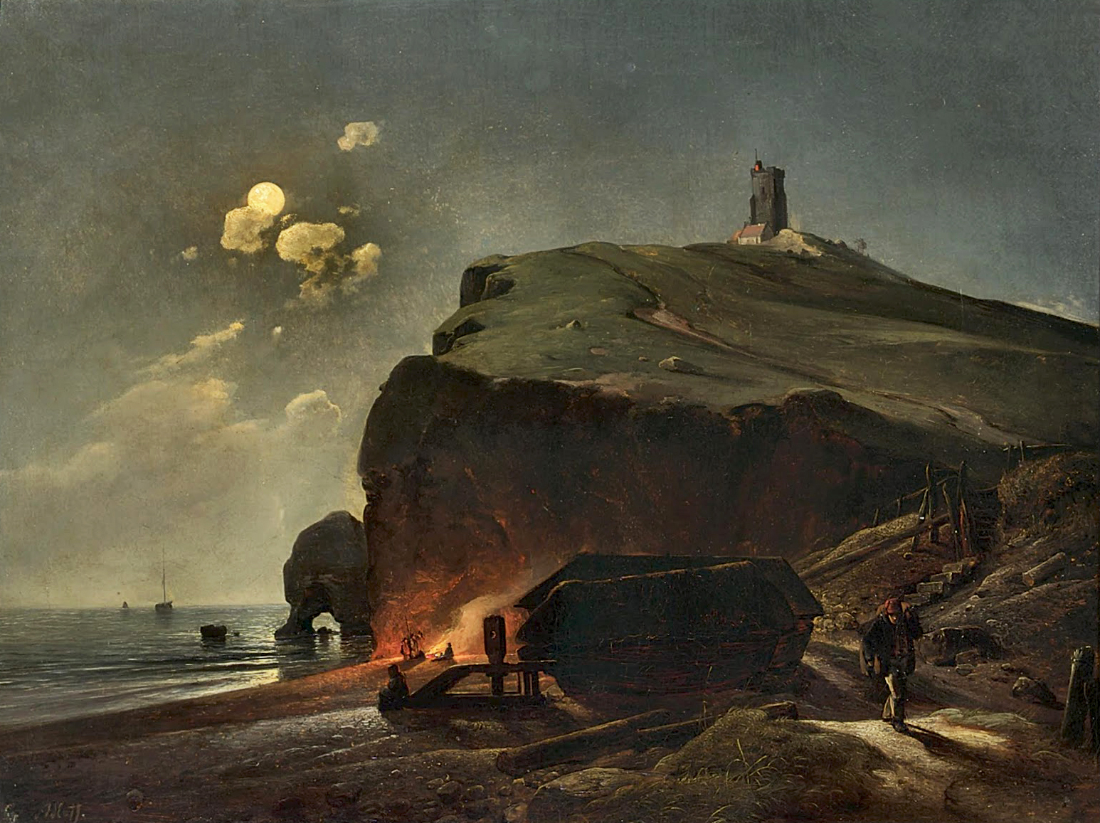 Karl Adloff (1819-1863)A Moonlit Coastal Scene with Figures on the Beach