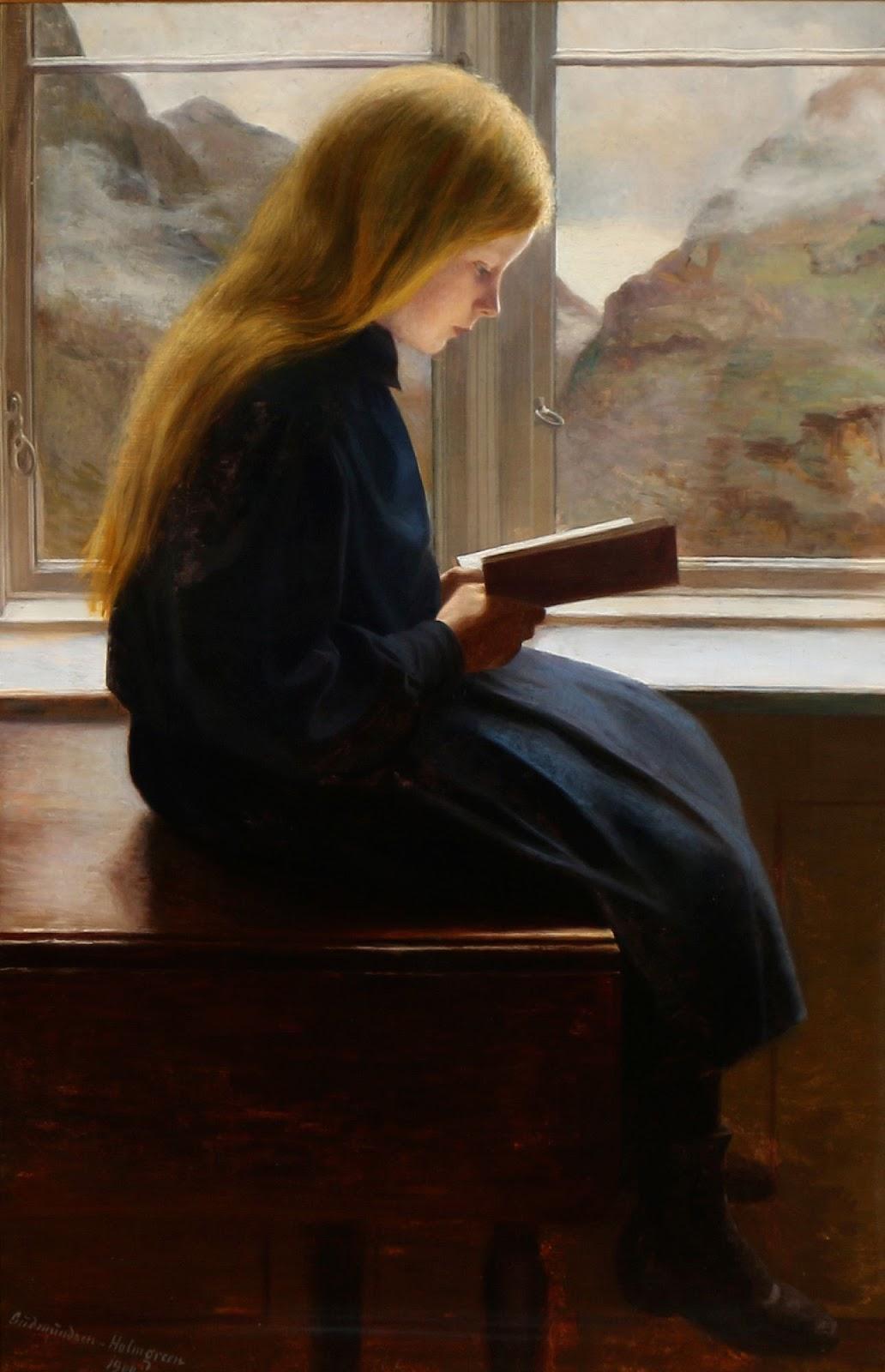 Johan Johan Gudmundsen-Holmgreen - A little girl reading, 1900
