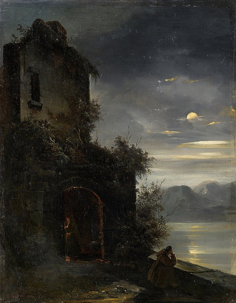 Désiré Donny -  monk in in the moonlight, 1840