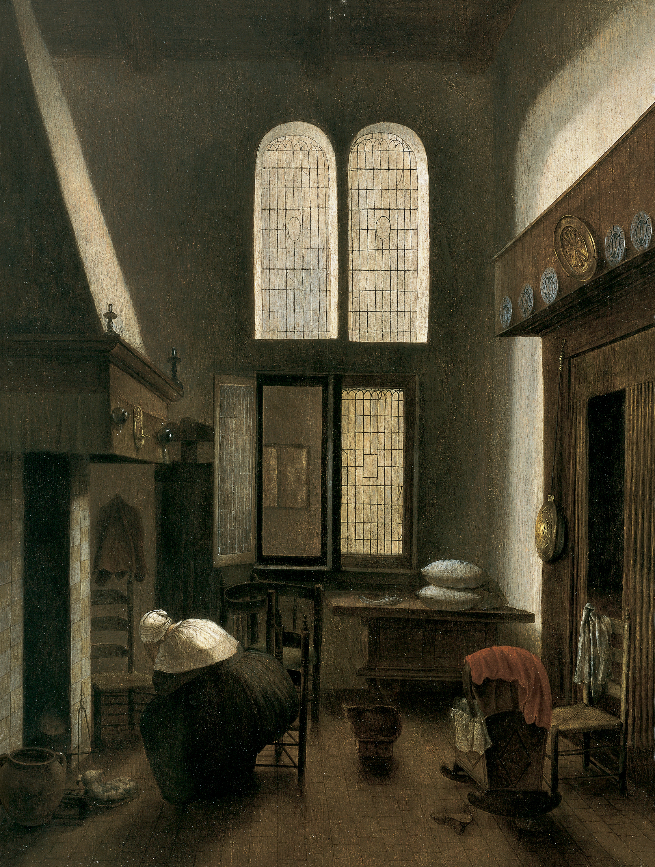 Jacobus Vrelle - Interior with a Woman Seated by a Hearth, 1654