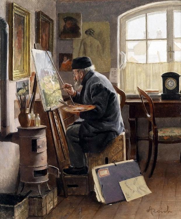 Adolf Reich Der Maler in seinem Atelier
