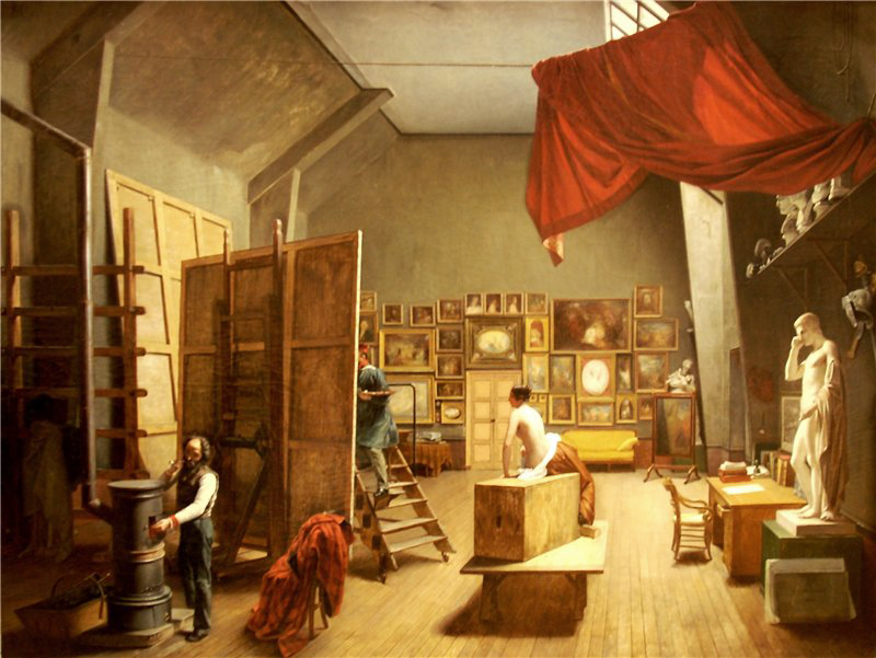 Adrienne Marie Louise Grandpierre-Deverzy Atelier d'Abel Pujol ou Intйrieur d'un atelier de peinture. 1836