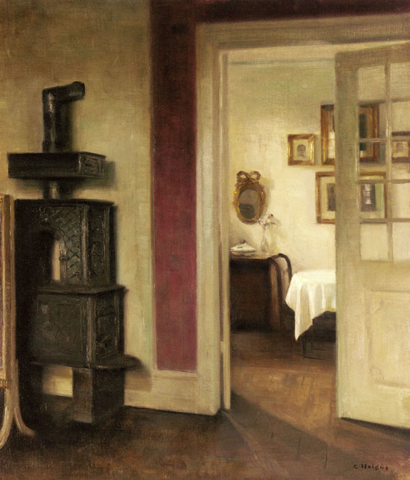 An Interior with a Stove and a View into a Dining Room Carl Vilhelm Holsoe (1863-1935)