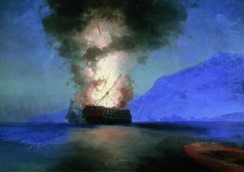 Иван-Константинович-Айвазовский--Взрыв-корабля