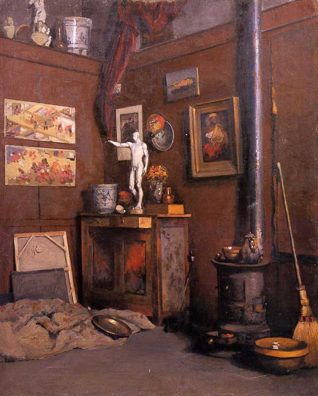 Gustave Caillebotte Interior of a Studio with Stove 1872-74